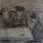 Lajos Gulácsy At the Table 12×11cm pencil on paper No Sign. From The Keleti-Vörösváry Collection