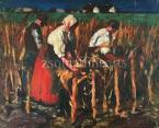 Cornhusking,  1920' years  22×26.5 cm oil on wood  Signed bottom right:  Koszta J