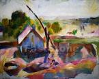 Aba-Novák Vilmos (1894-1941)   Igali tájkép (Gémeskútnál), 1927 63×79cm olaj, vászon  Jelezve b.l. Aba- Novák  Reprodukálva