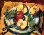Andor Basch  Autumnal Still Life with Apple and Grapes 32×40cm oil on panel Signed bottom right: Basch 36