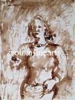Berény Róbert  Nő gyümölcsös kosárral 29×21,5cm akvarell, papír Jel. j.l.  Berény / Bedő gyűjteményből