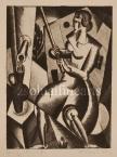 Bortnyik Sándor  Kútnál, 1922 12×9cm rézkarc, papír Jel. j.l. Bortnyik