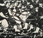 Derkovits Gyula  1514  (Dózsa sorozat)  VI.  Összecsapás 26×30cm fametszet, papír Jn.
