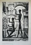 """Kron Jenő  Lap """"A Nap Embere"""" sorozatból, 4.    44,5×30,5cm litográfia, papír Jel. j.l. Kron Jenő"""