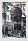 """Kron Jenő  Lap """"A Nap Embere"""" sorozatból, 8.    44,5×30,5cm litográfia, papír Jel. j.l. Kron Jenő"""