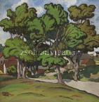 Kádár Béla   Kanyargós út lombos fák alatt, 1910-es évek  60×62cm tempera, papír   Jel. b.l. Kádár Béla