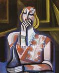 Scheiber Hugó  Cigarettázó nő 68×56cm  tempera, papír Jel. j. l. Scheiber H  / Kiállítva, Reprodukálva