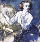 Vaszary János  Fehérblúzos nő fotelban, 1917  52×49.5cm olaj, vászon  Jel. b. f. Vaszary J