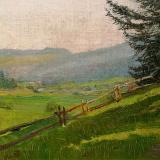 Mednyánszky László   Budai dombok fenyőkkel, 1912   24×34cm olaj, vászon  Jel.. j. l.  Mednyánszky
