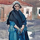Vaszary János (1867-1939) Nő kék ruhában, 1916 40×50cm akv. p. Jel Vaszary J