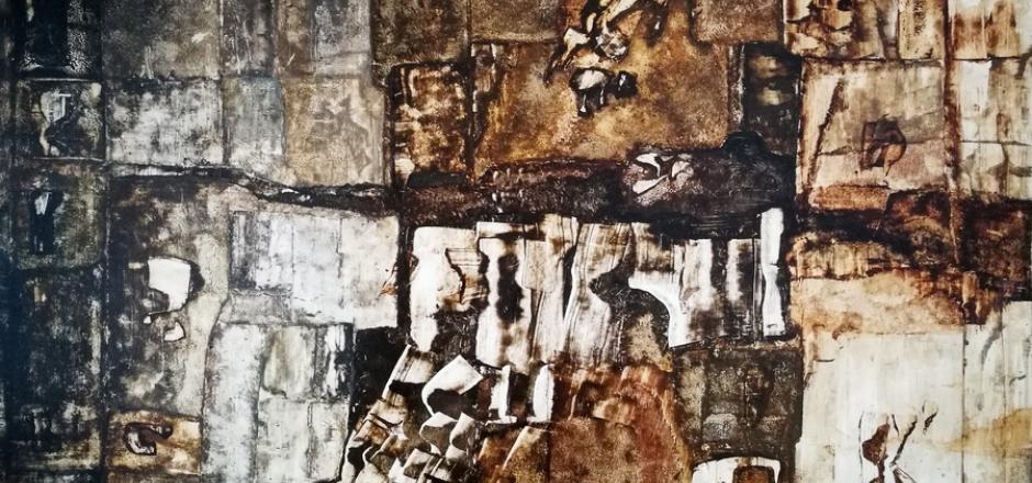 Ország Lili (1926-1978) Jelek a falon, 1960-as évek 40x50cm o.k. Jel.b.l. Ország